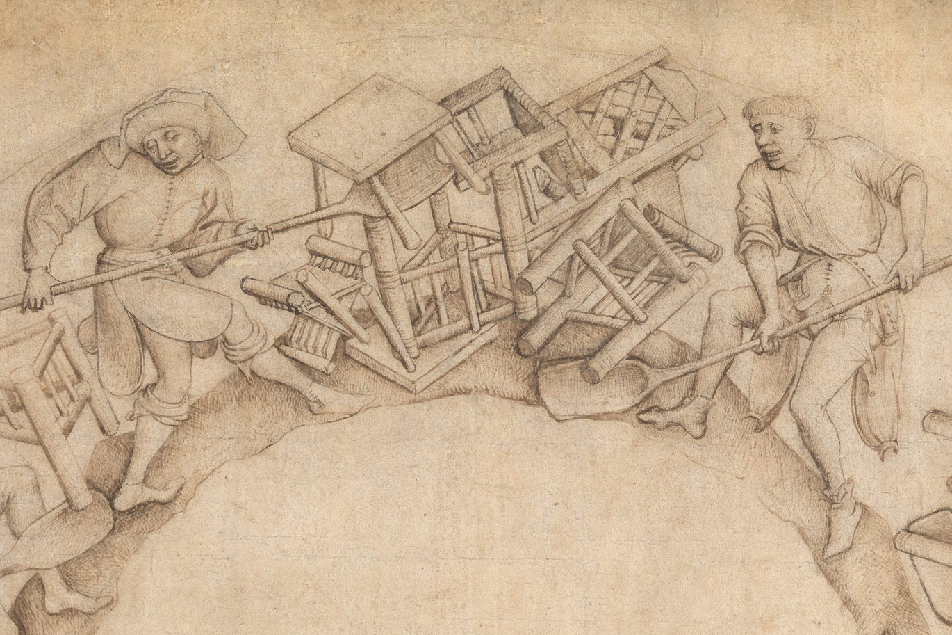 Men Shoveling Chairs by Circle of Rogier van der Weyden