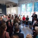 Christopher Ozubko speaking at exhibition opening
