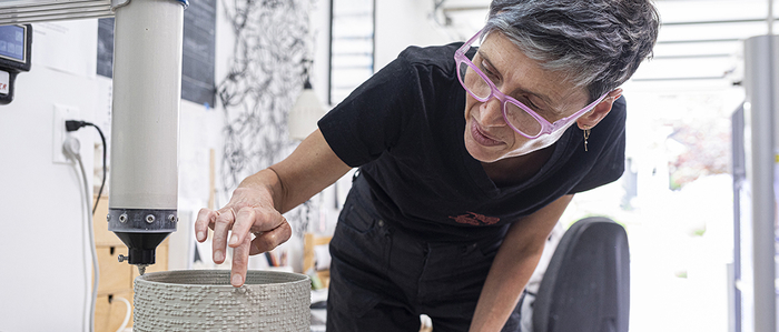 Timea Tihanyi and 3D printer