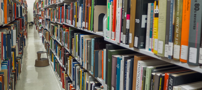 books on shelves in Art Library