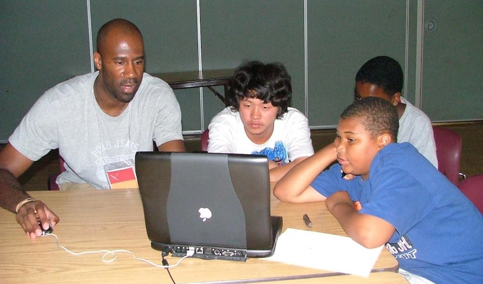 Maurice Woods with students