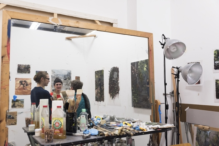 People in a painting studio at Sand Point