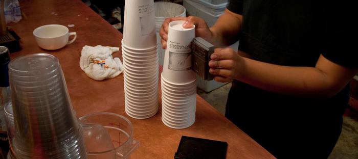 Barista working at Parnassus coffee shop