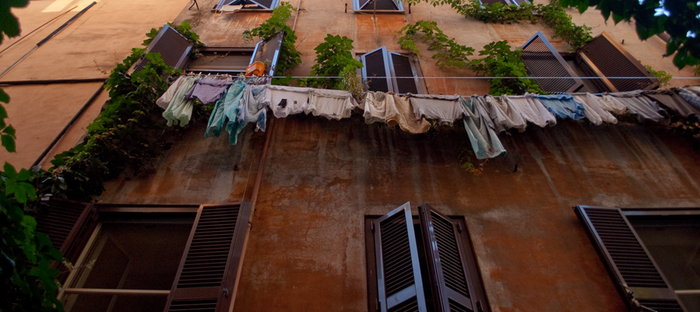 laundry hanging outside Rome Center