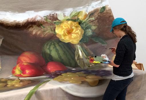 Krista Schoening working on Still Life (Banquet Piece)