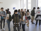 Graduation exhibition reception in Jacob Lawrence Gallery