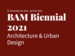 White text on red background reading: BAM Biennial 2021 Architecture and Urban Design