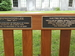 Plaques on memorial bench for Donghoon Lee