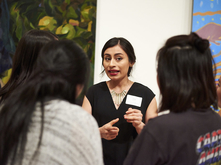Arely Morales at 2017 MFA + MDes Thesis Exhibition opening