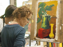 faculty students painting studio