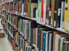 books on shelves in Art Library