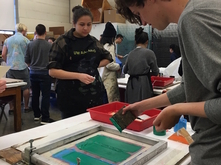Students screen printing