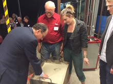 Creating mold for glass hands at Glass Facilities Celebration