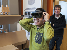 Scott Tsukamaki wearing Microsoft HoloLens