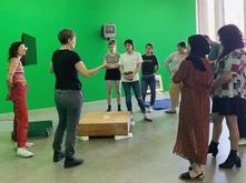 Students in ART 496 listening to Jes Gettler
