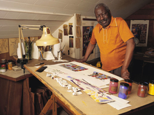 Jacob Lawrence in his home studio