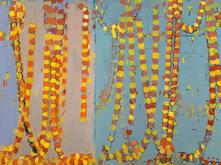 discursion, a painting by Sangram Majumdar