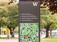 UW wayfinding guide signs by Studio Matthews